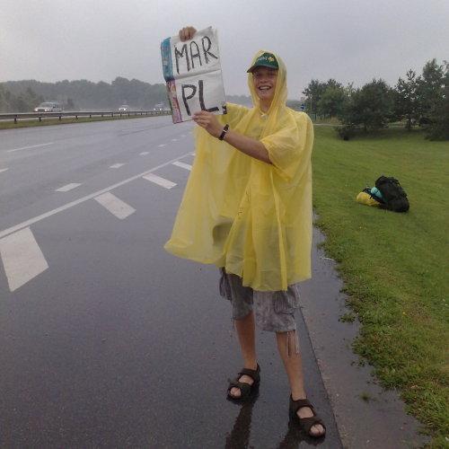 Kiek aprimęs lietus kelyje netoli Kauno